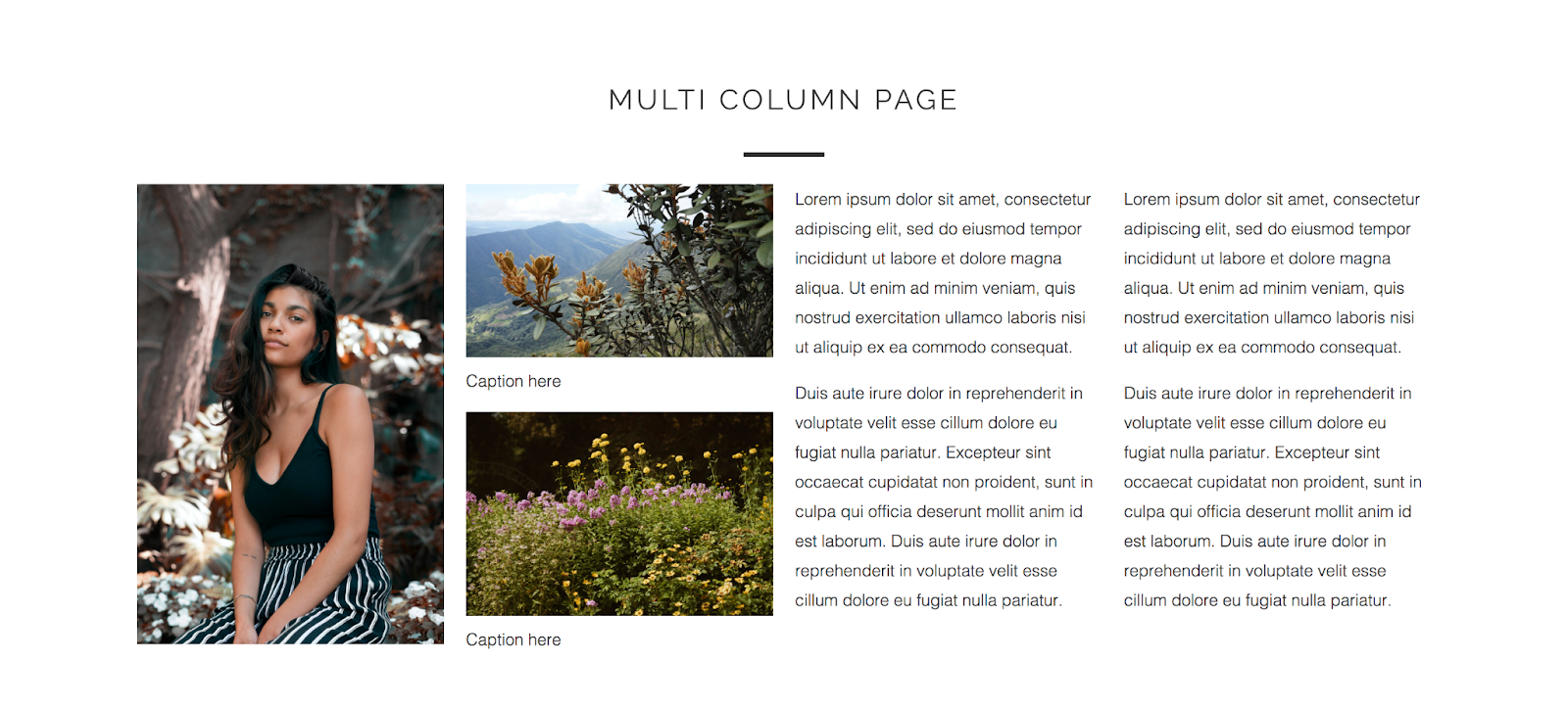 multi column page template out of the sandbox shopify