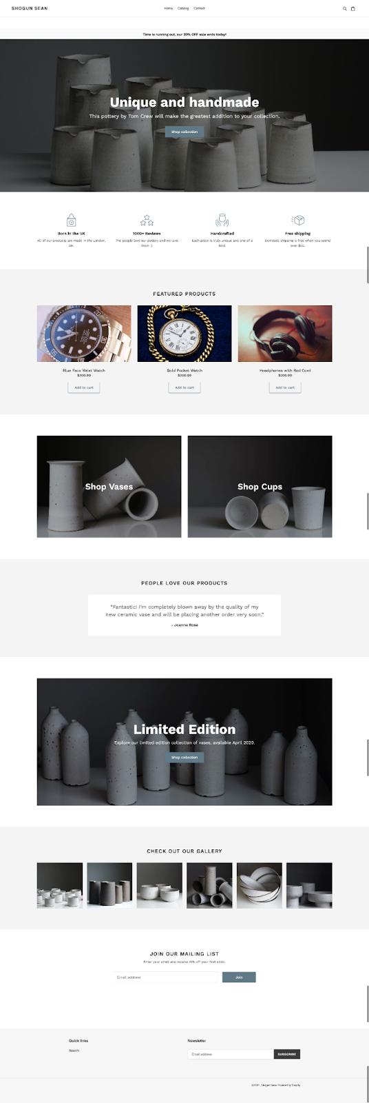 homepage template shogun page builder