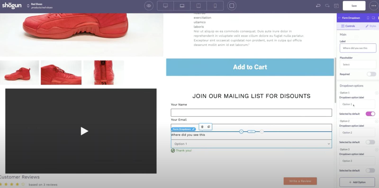 shogun page builder form element shopify store