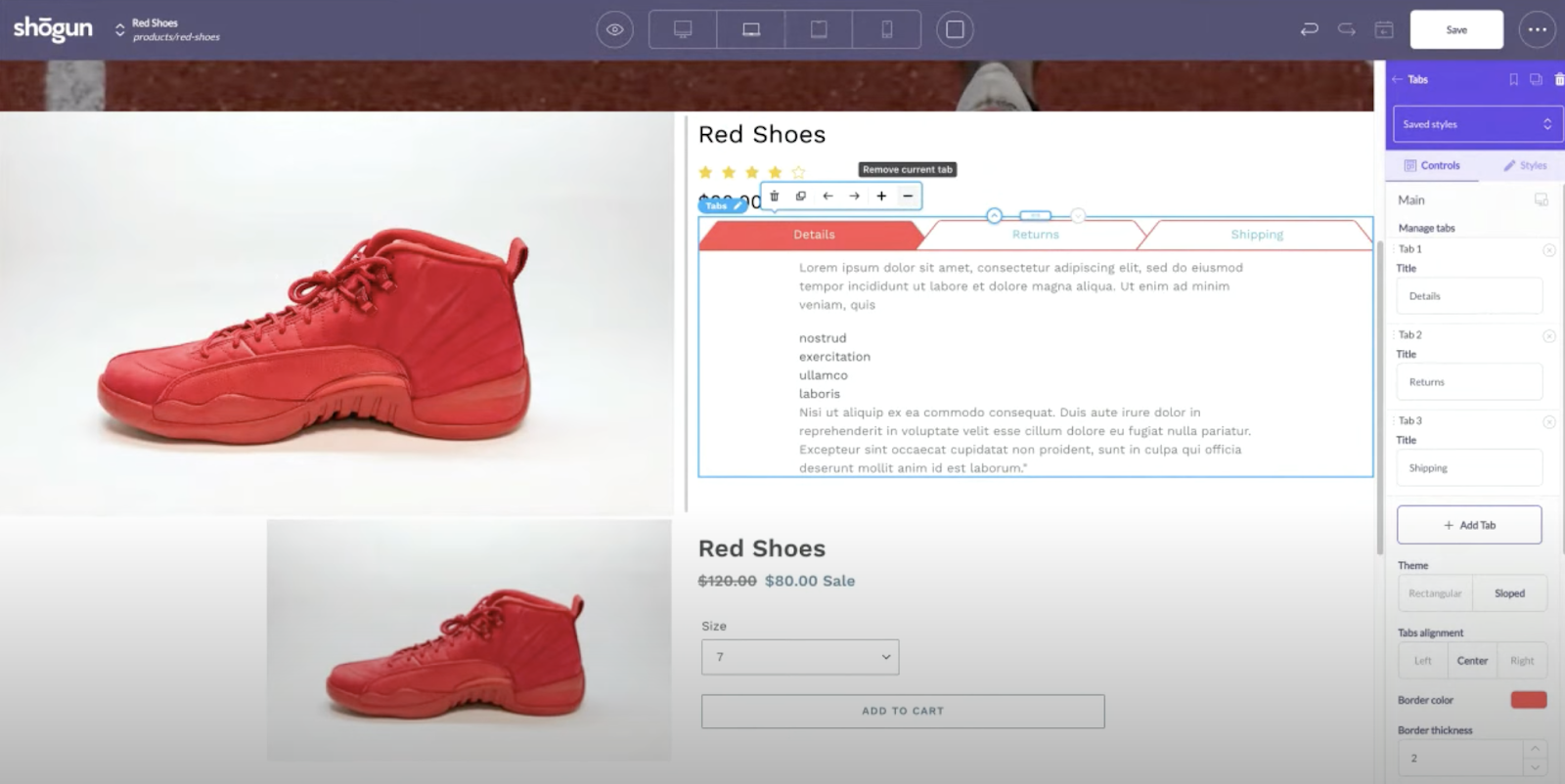 shogun page builder tabs element for shopify
