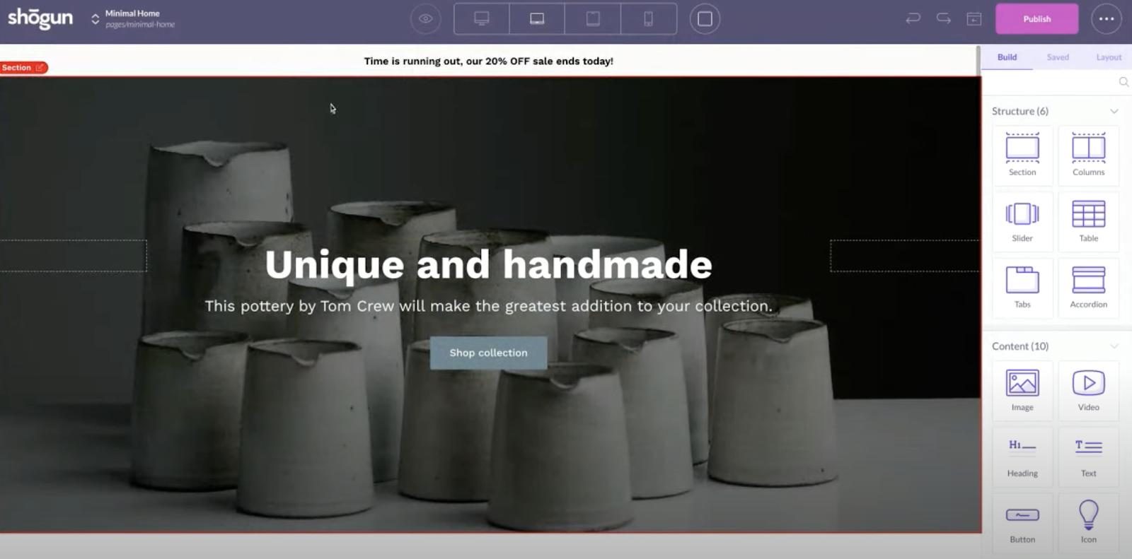 shogun page builder visual editor homepage template