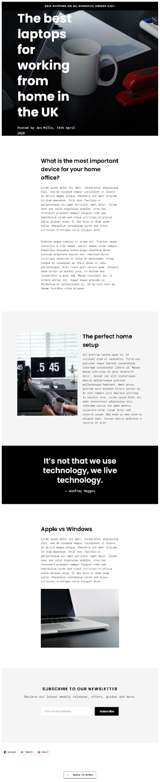 blog post page template shogun page builder