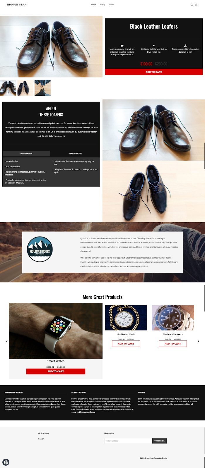 product page template shogun page builder