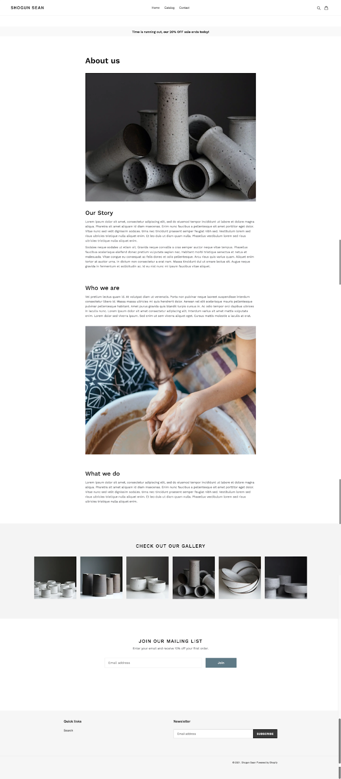about us page template shogun page builder