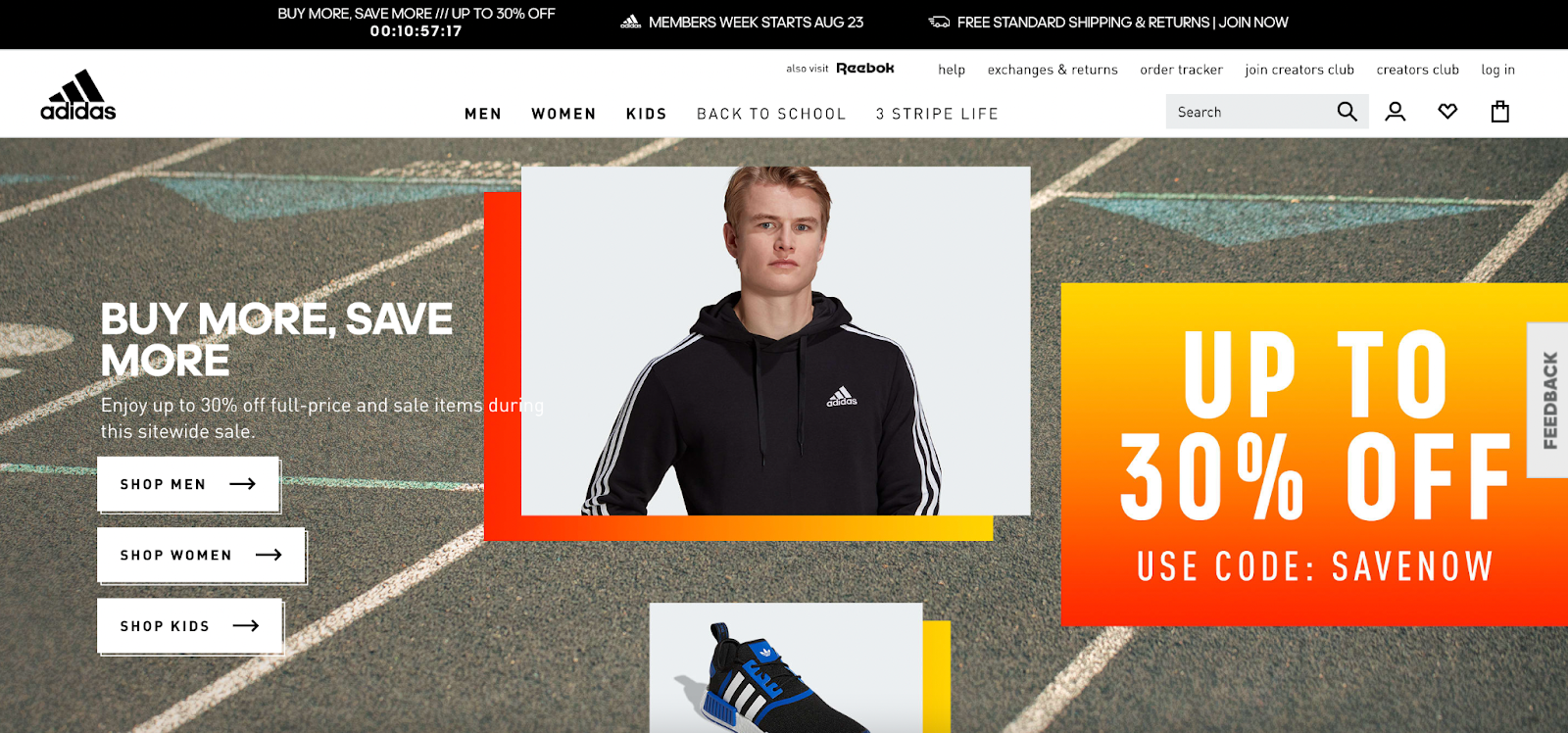 The homepage of the Adidas website