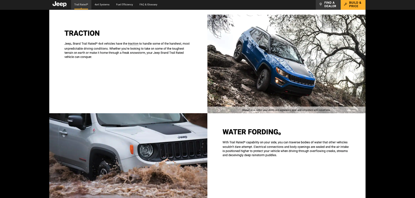 Jeep cars driving down rocks and through water