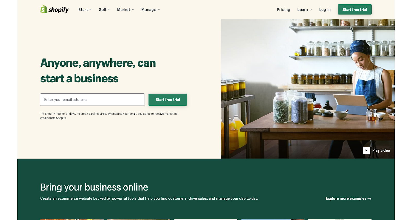 shopify homepage anyone anywhere can start a business