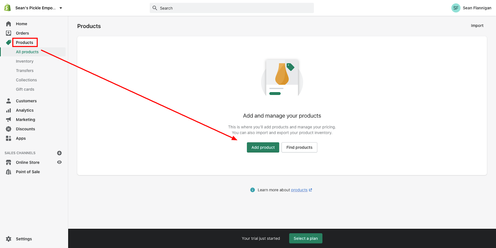 products on dashboard add product button green