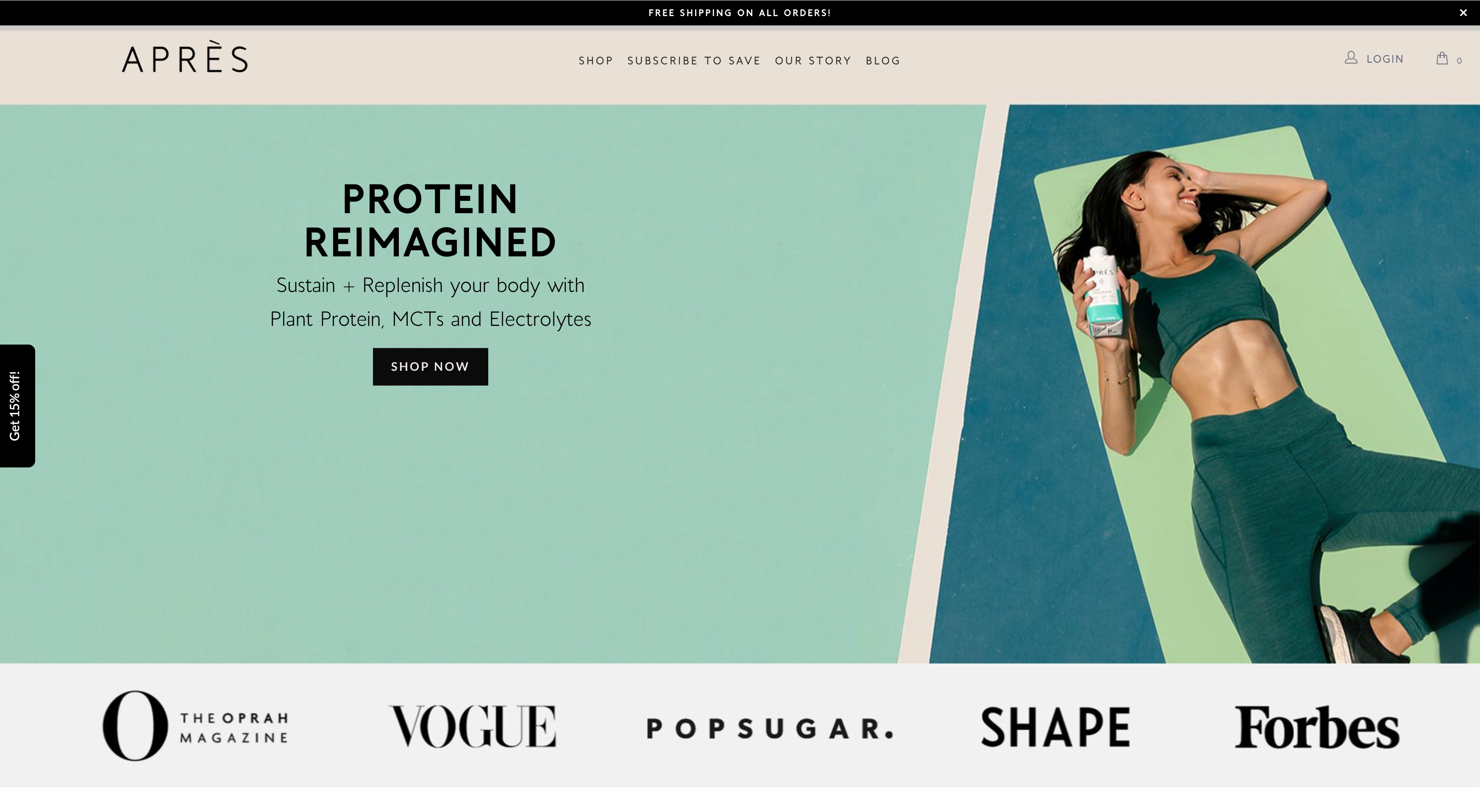 apres protein drink homepage