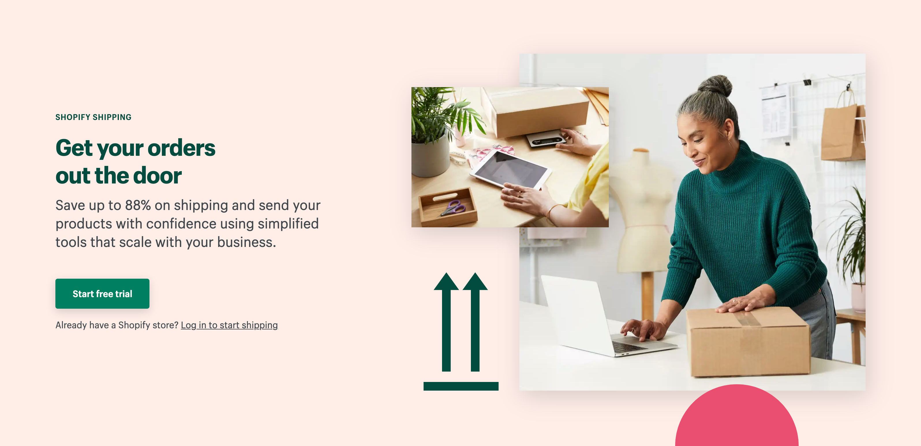 Shopify shipping landing page get your orders out the door