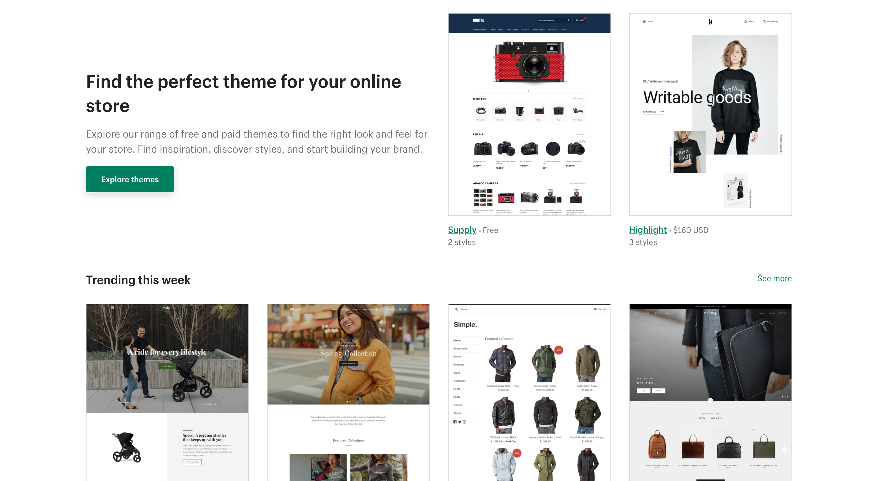 shopify theme store free and paid shopify themes