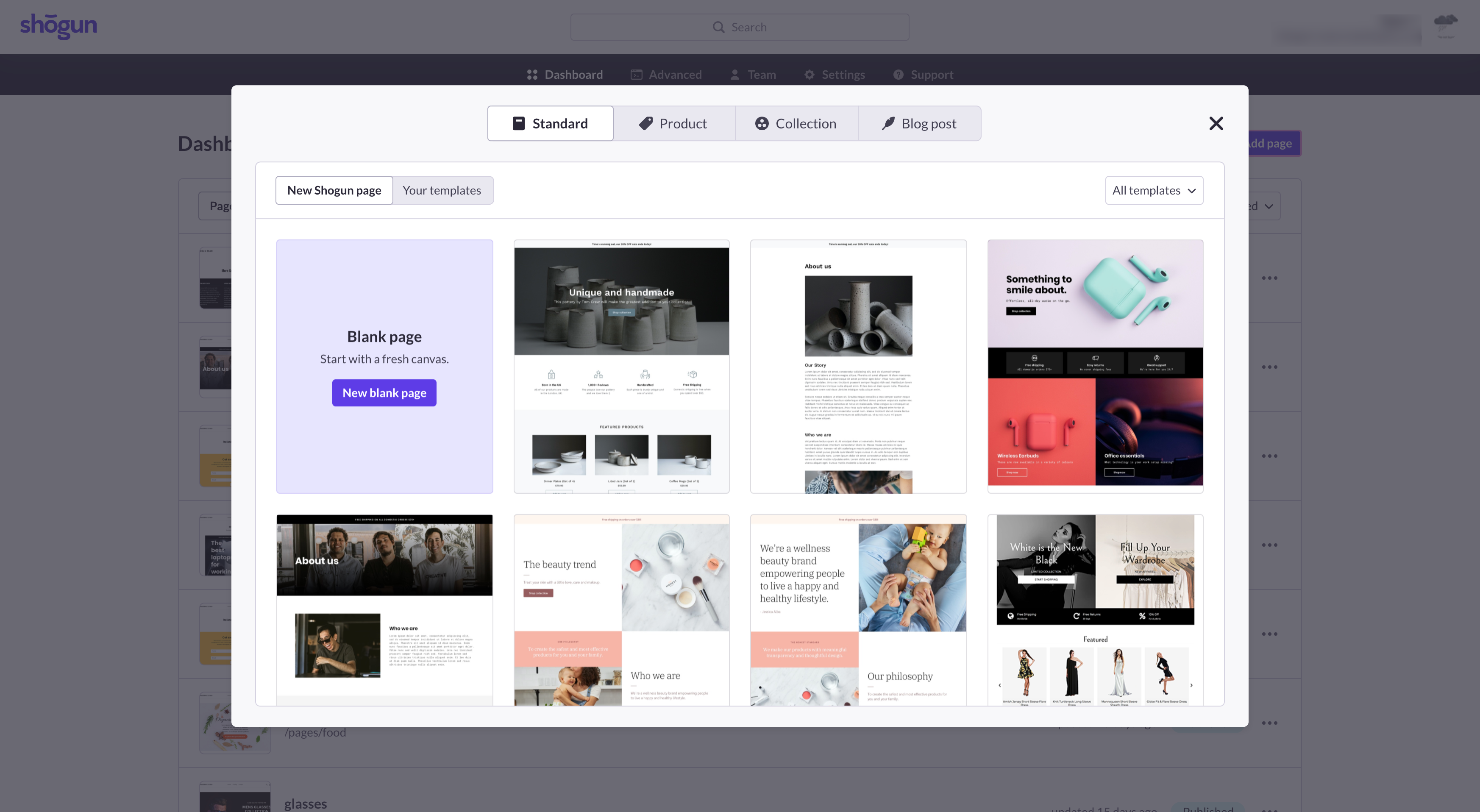 shogun page builder page templates you can choose