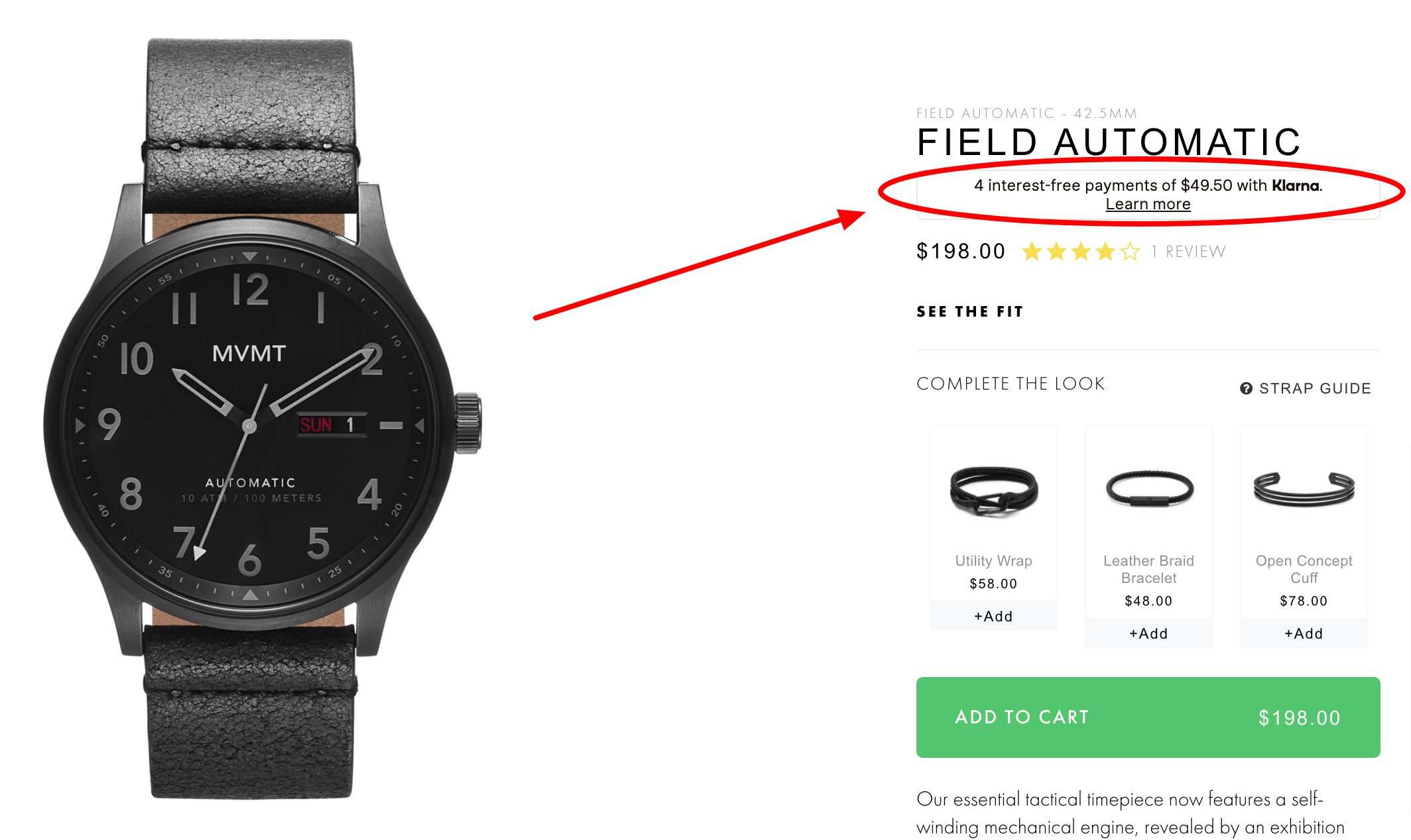 MVMT field automatic watch product page installment payment plan