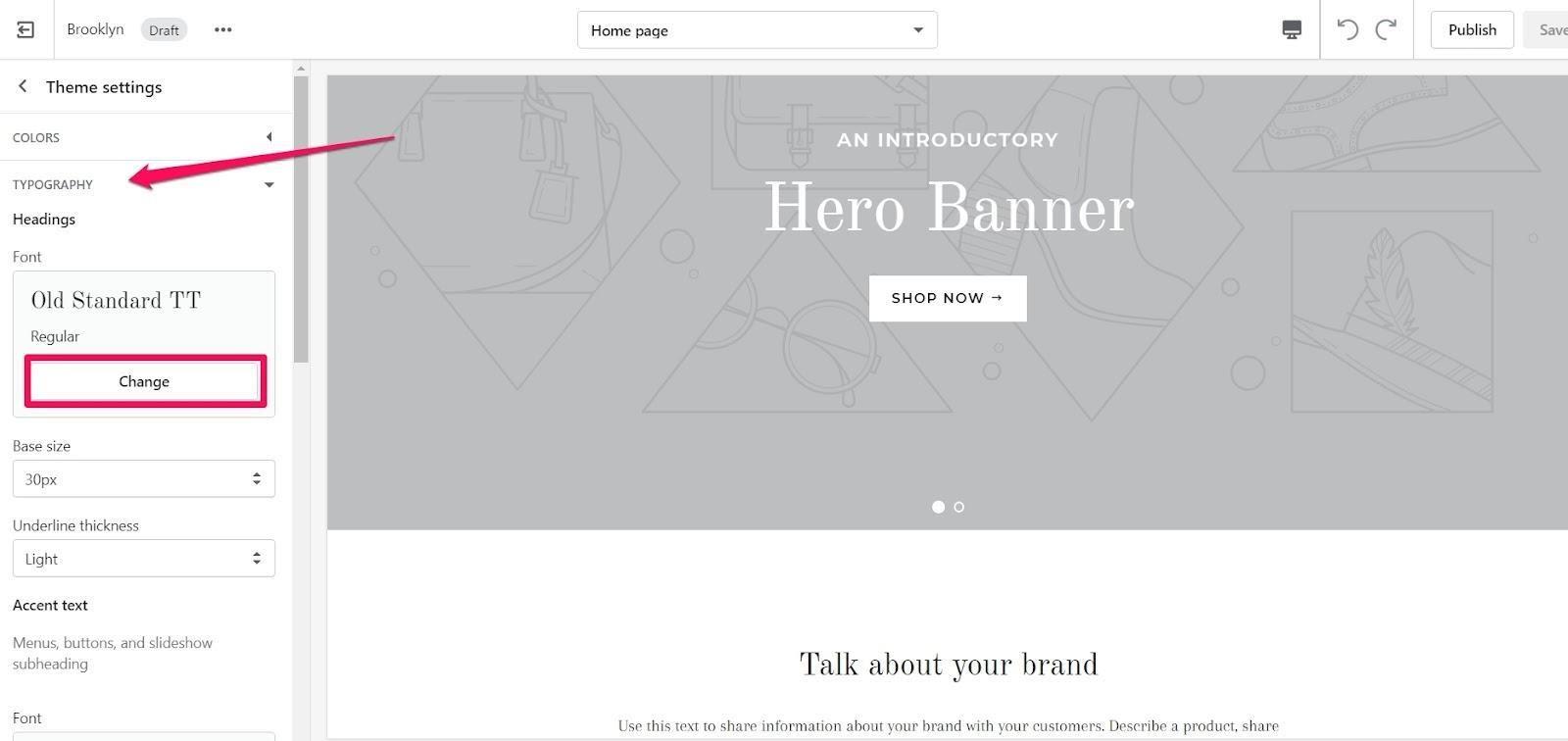 shopify theme typography
