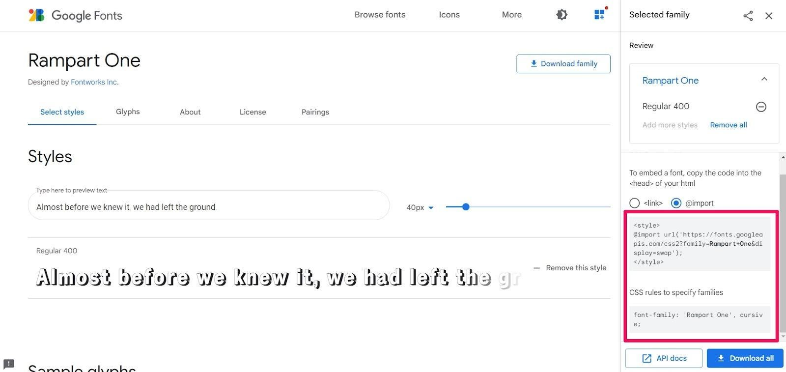 google fonts embed font style css rules