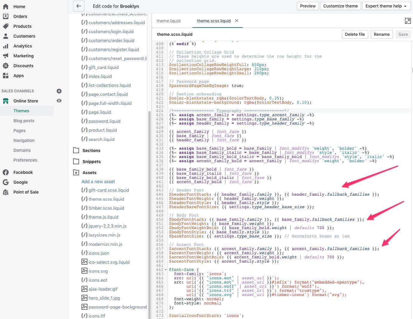 shopify themes edit font code