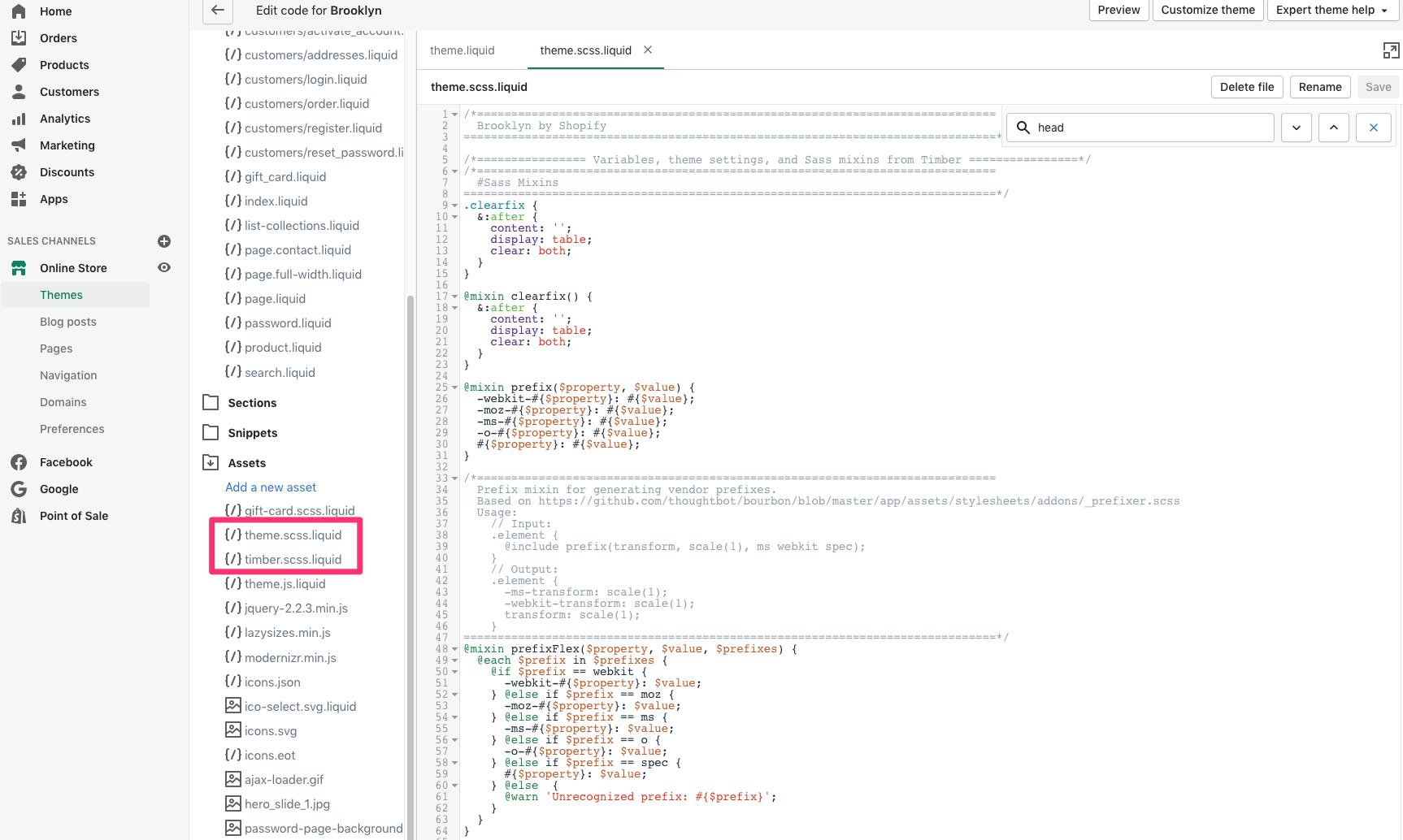 shopify edit code assets