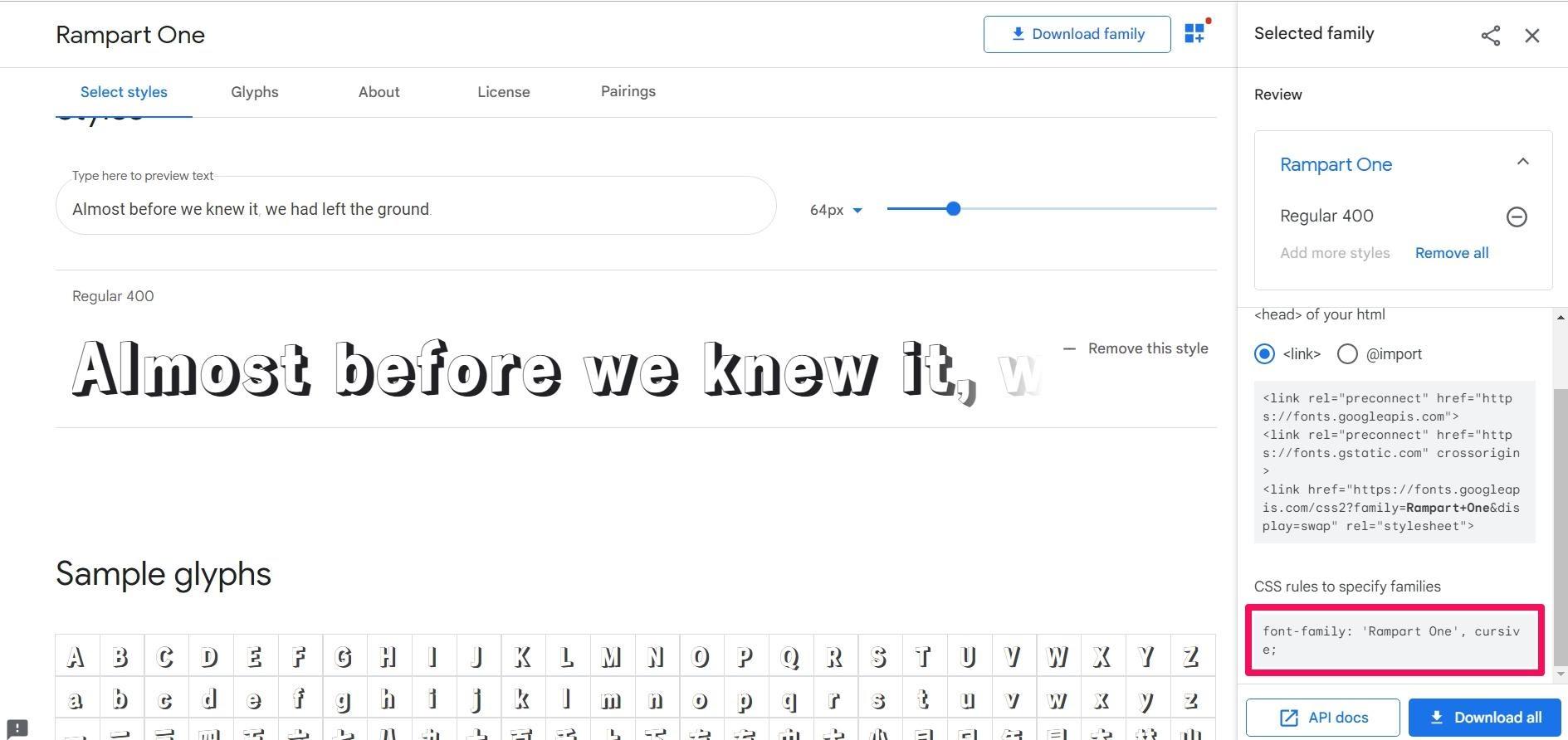 google fonts css rules