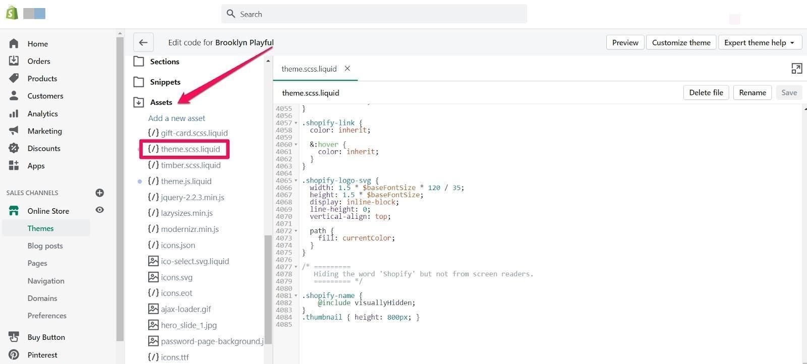 css code shopify theme edit