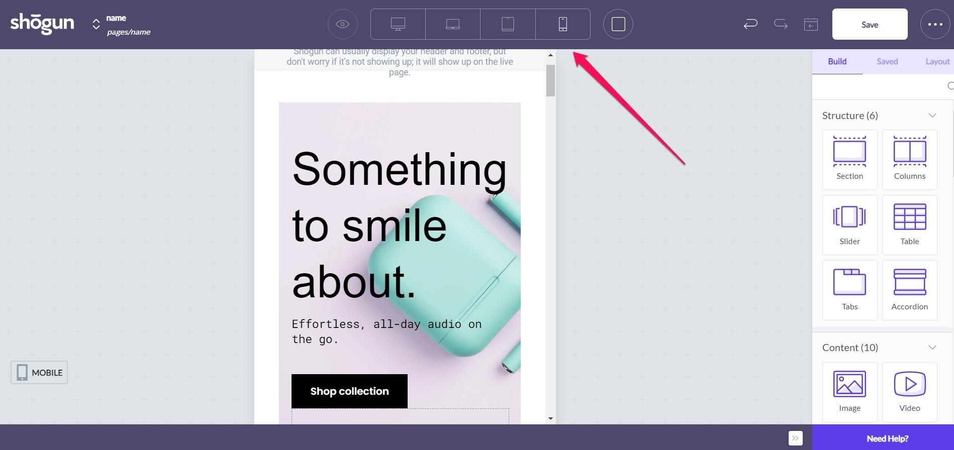 shogun page builder responsive screen size selector