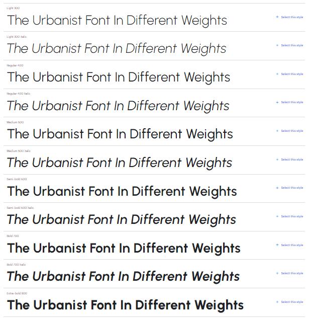 font weights urbanist