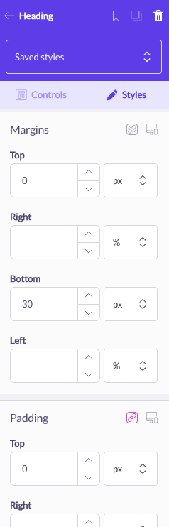 shogun page builder margin padding styles editor