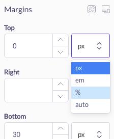 choose unit of measurement for margin shogun page builder
