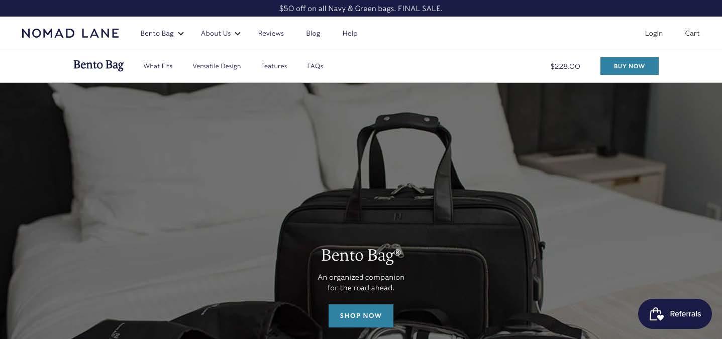 nomad lane homepage bento bag