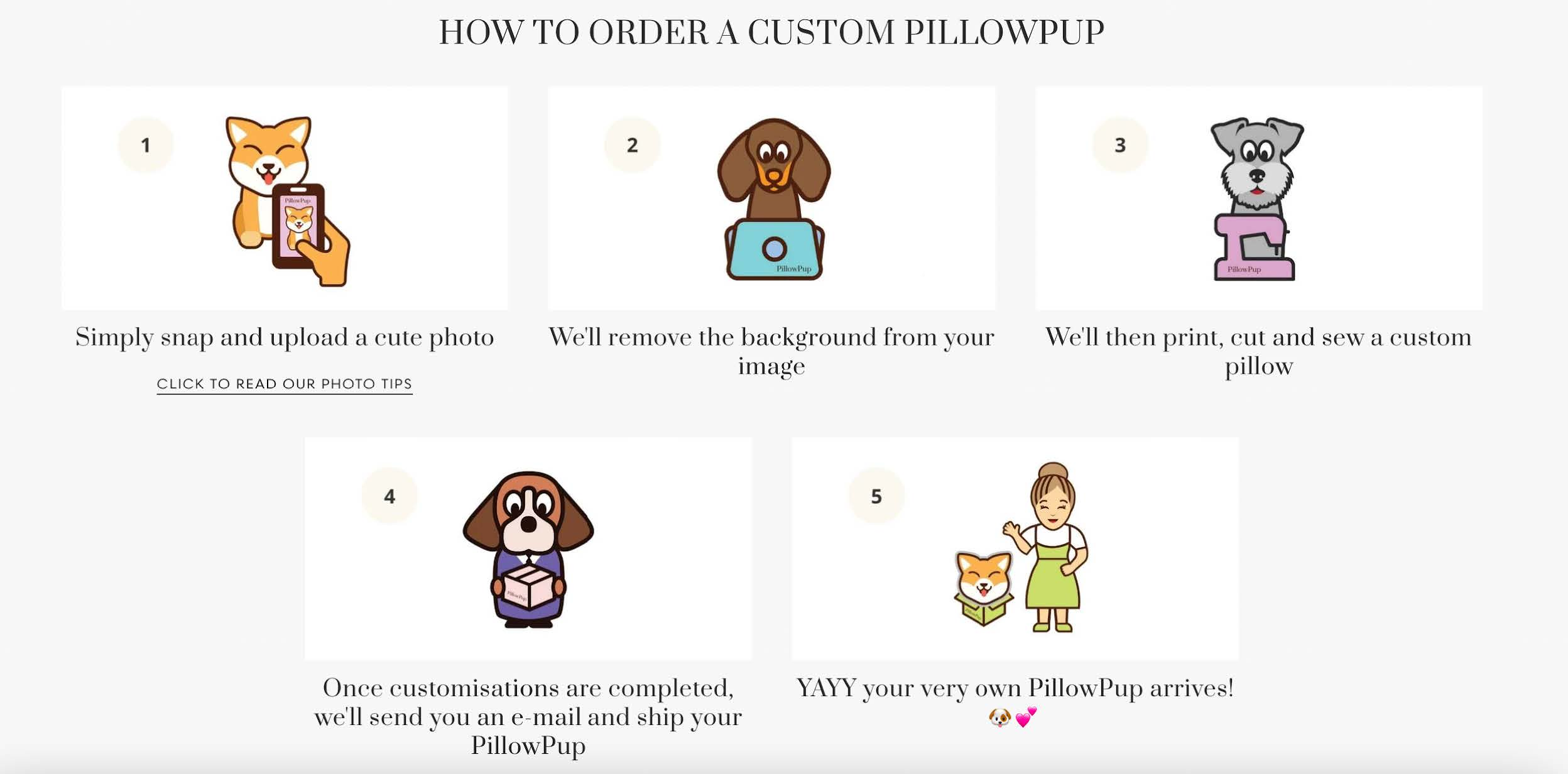 how to order custom pillowpup page