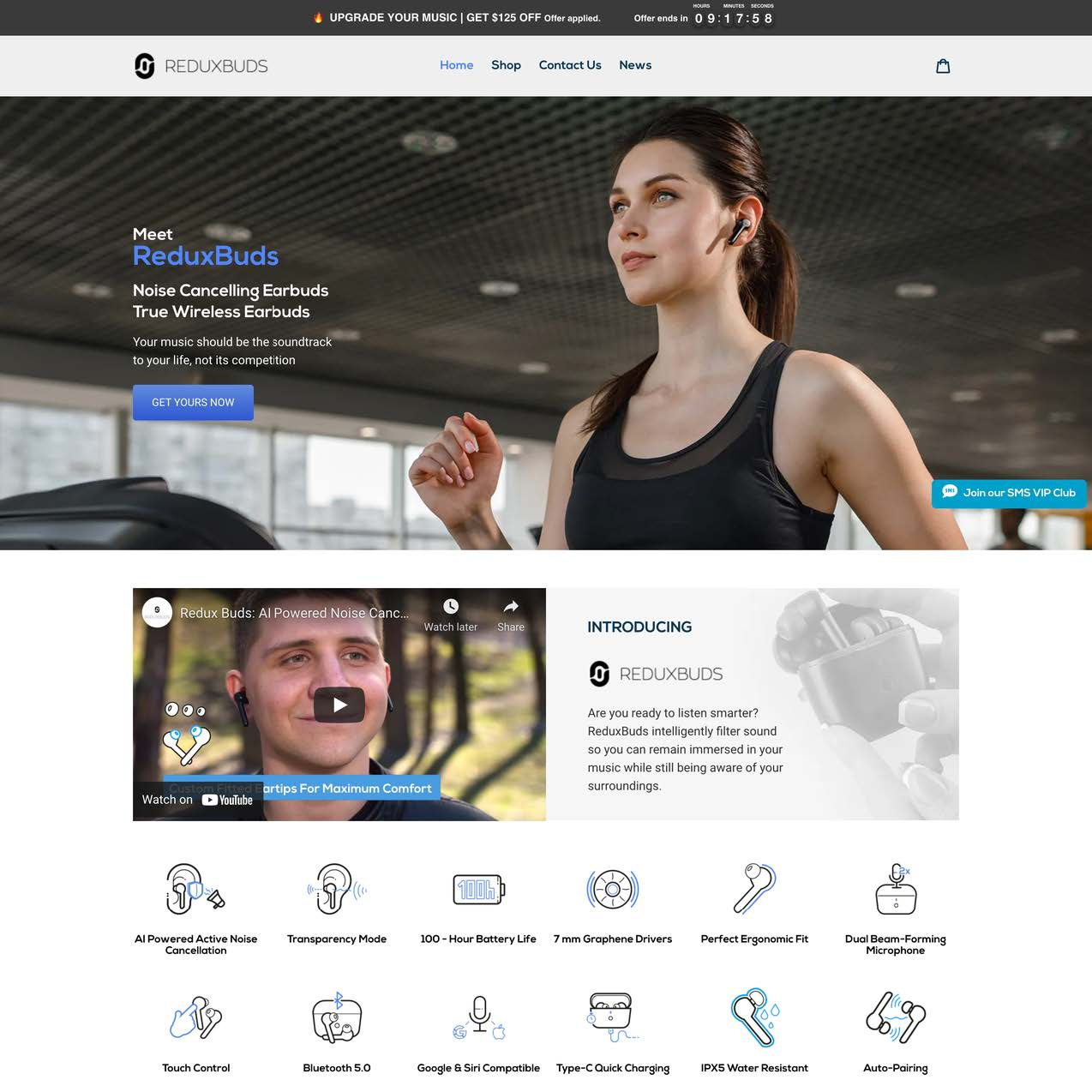 reduxbuds homepage one product shopify stores