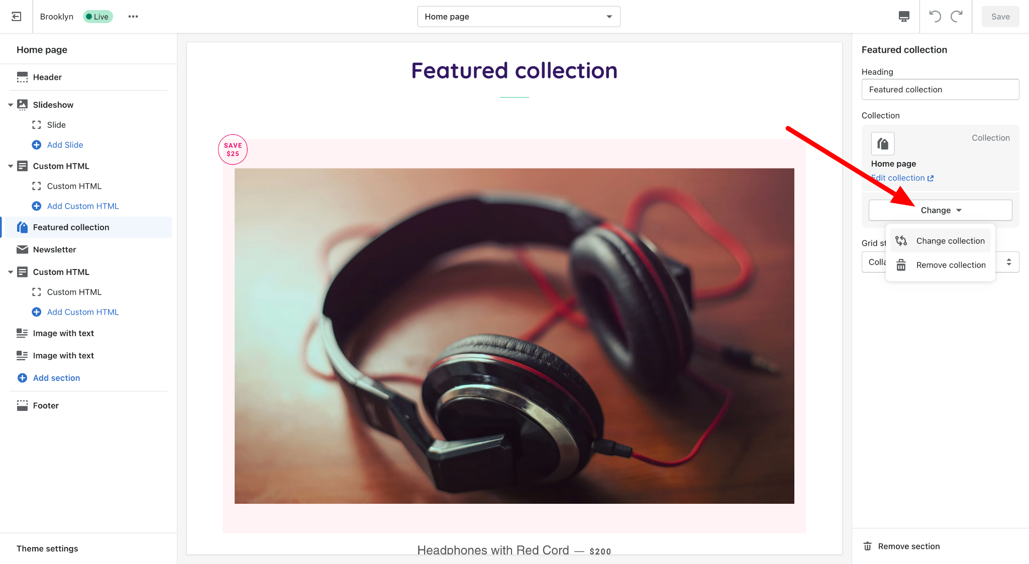 shopify dashboard change featured collection theme customization