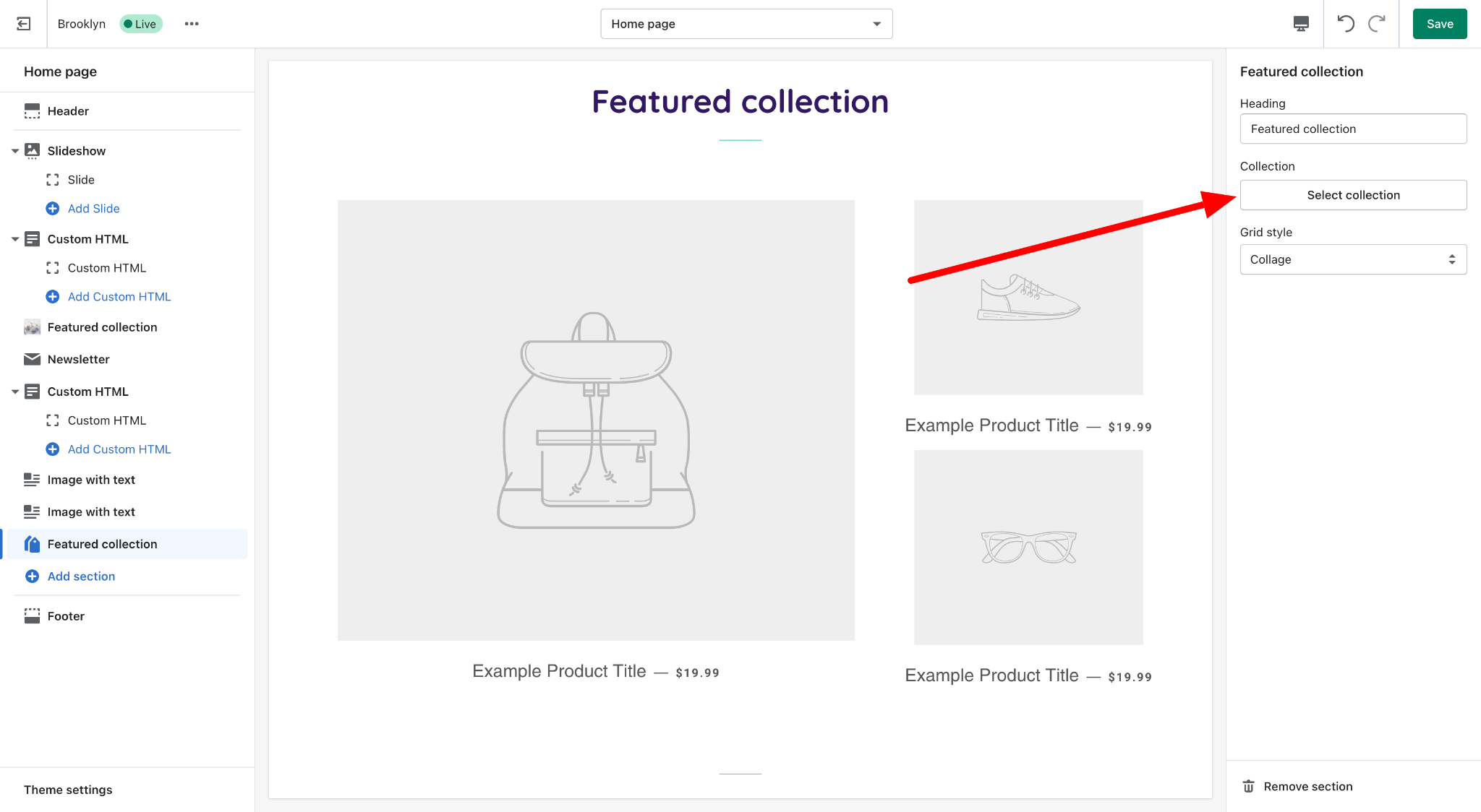 shopify dashboard select collection to feature