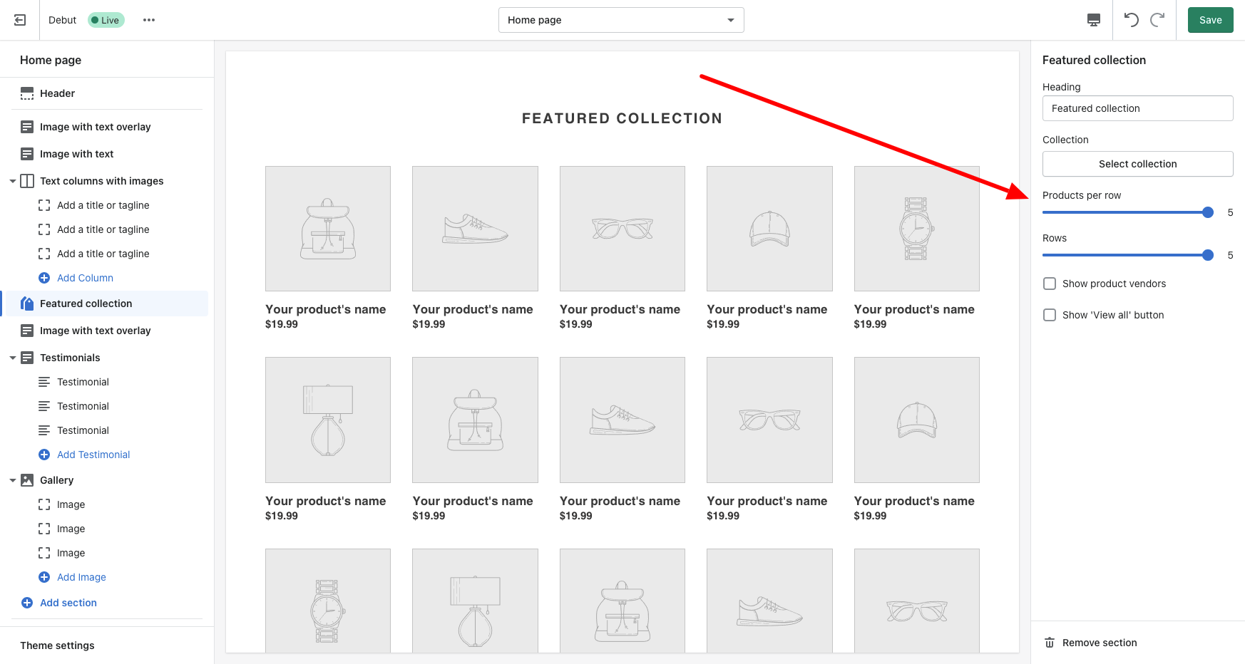 shopify dashboard debut theme grid options featured collection