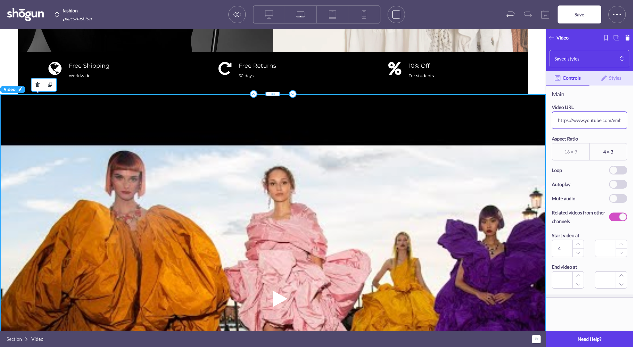 shogun page builder add video element