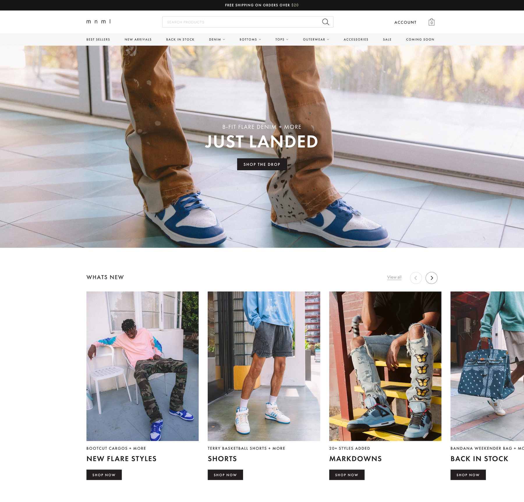 mnml homepage top half apparel denim