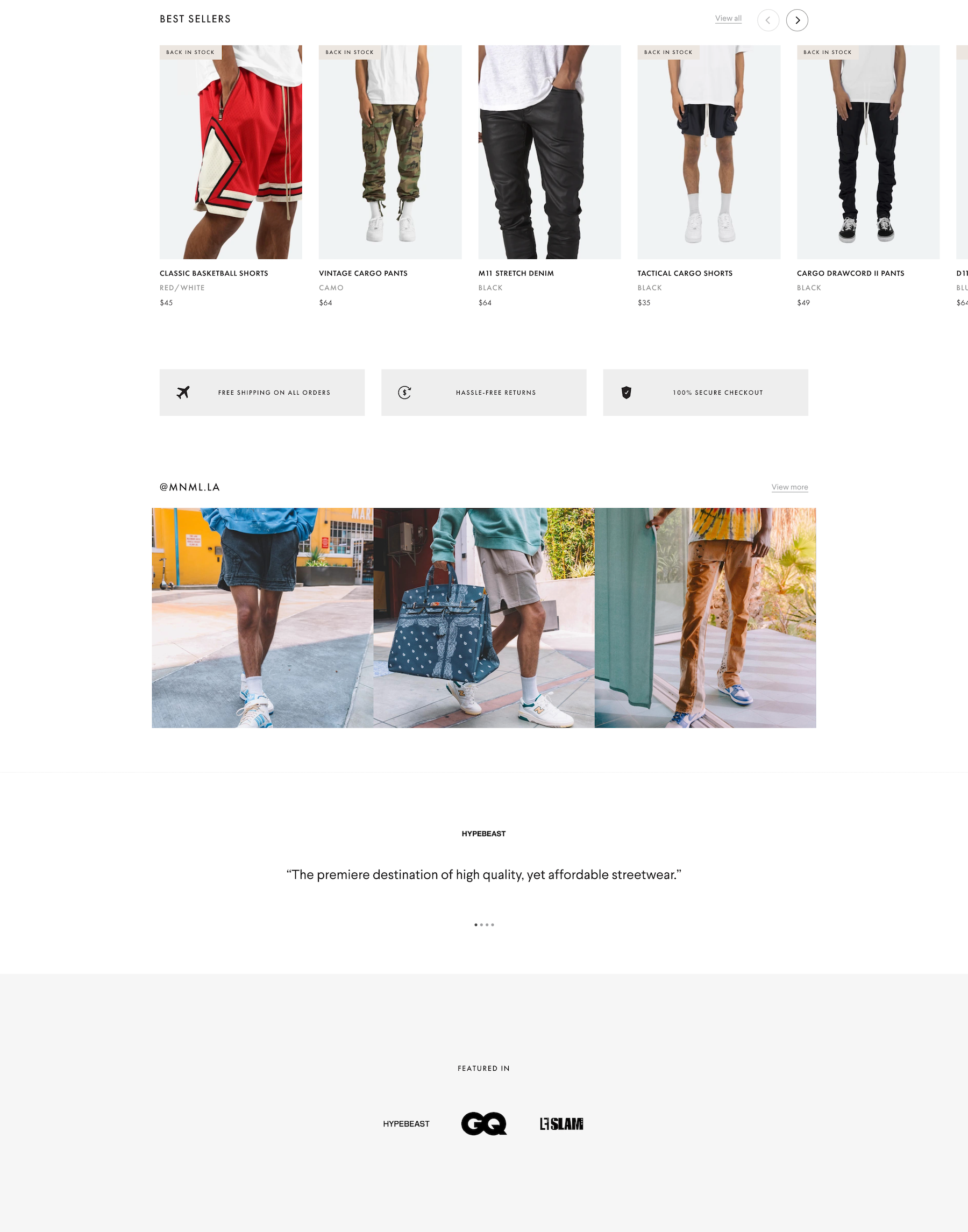 mnml homepage bottom half slider element pants