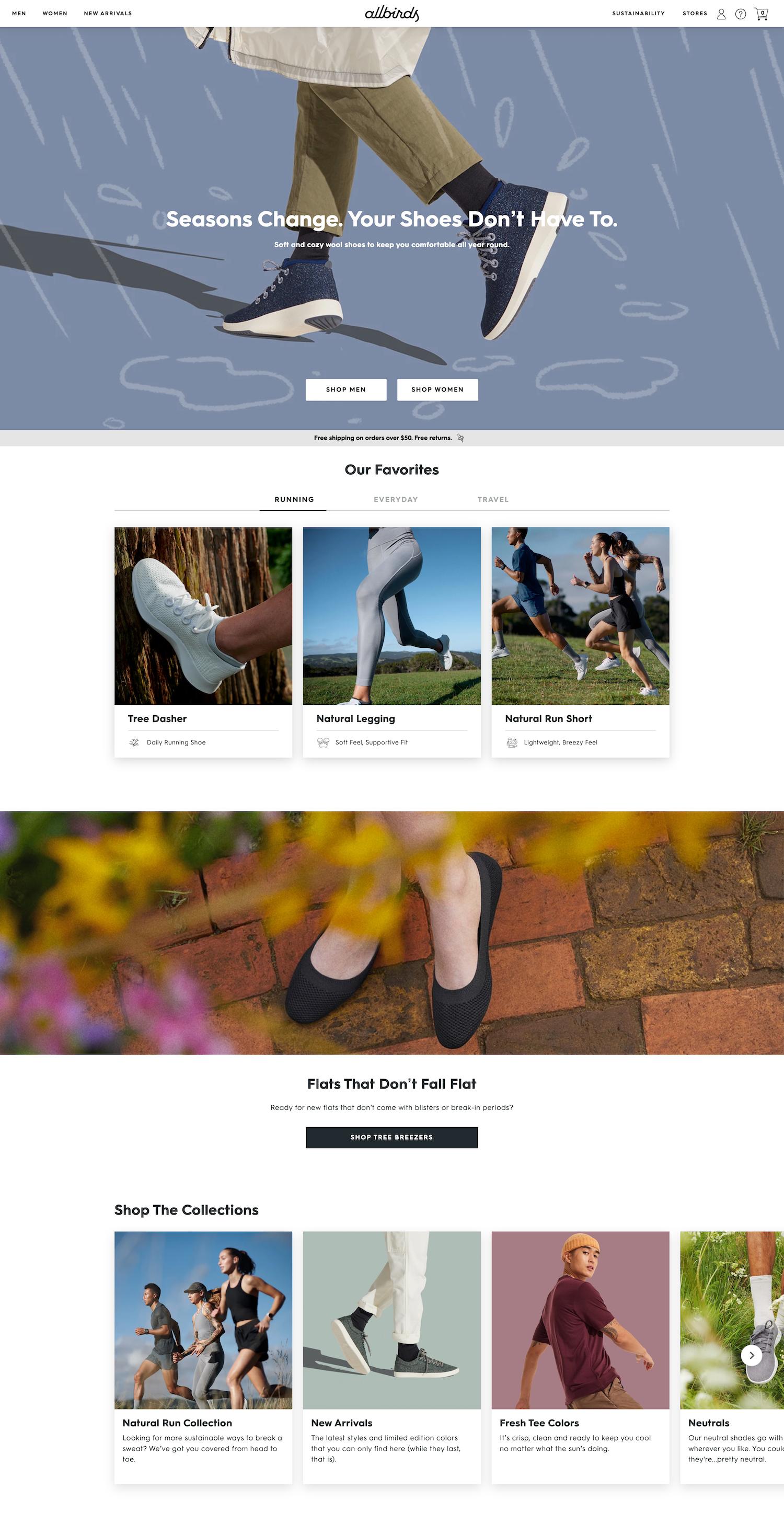 allbirds homepage top half shoes leggings shorts