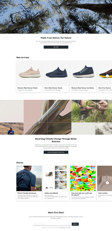 allbirds homepage bottom half sustainability message