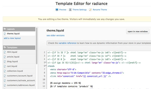 Liquid example in template editor
