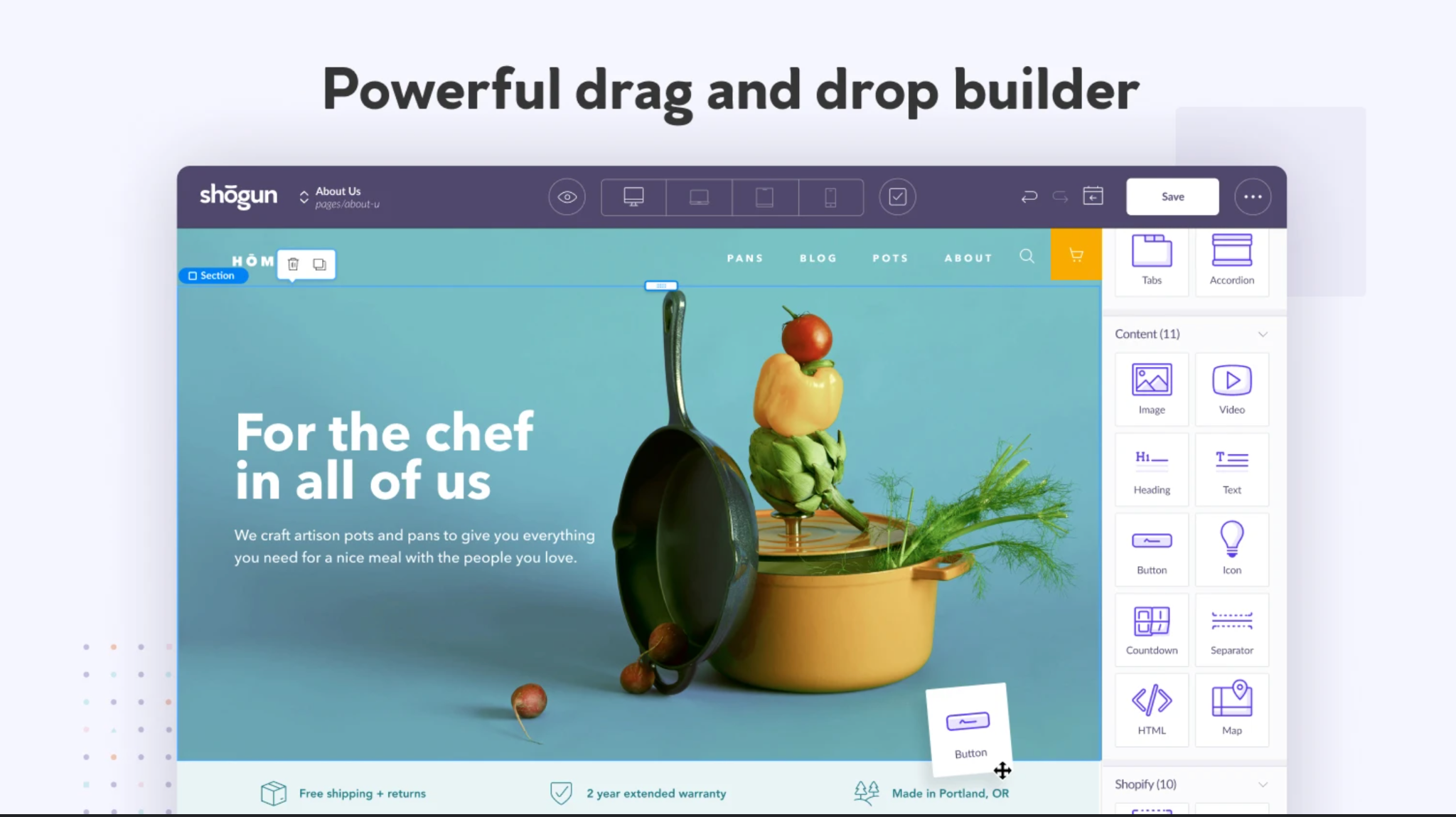 shogun page builder drag and drop builder for shopify