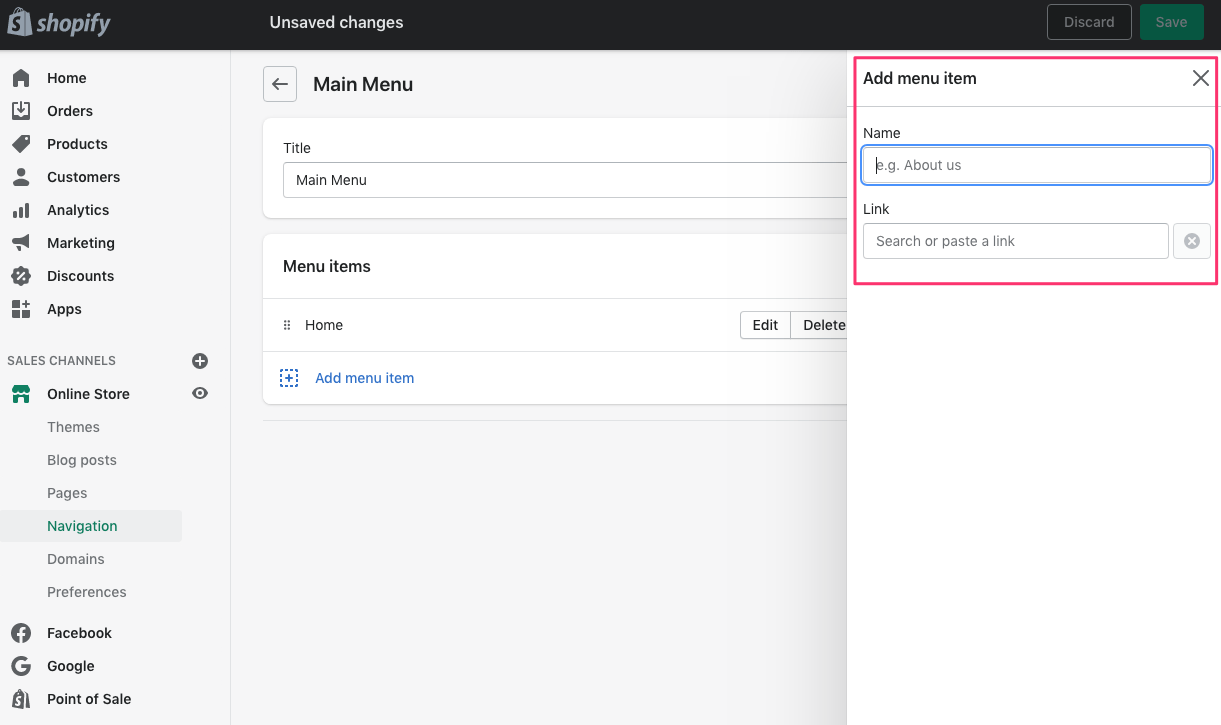 shopify dashboard add menu item name and link