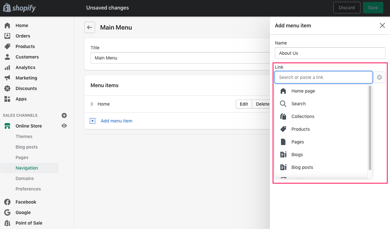 shopify dashboard add menu item link choose destination