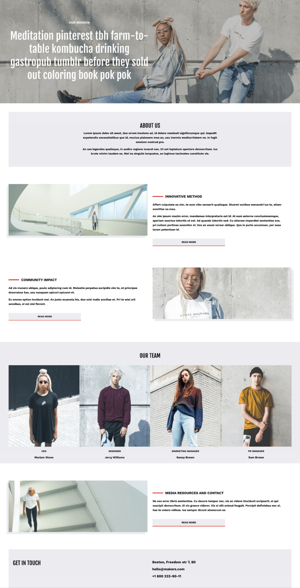 artsy hipster about us page template shogun