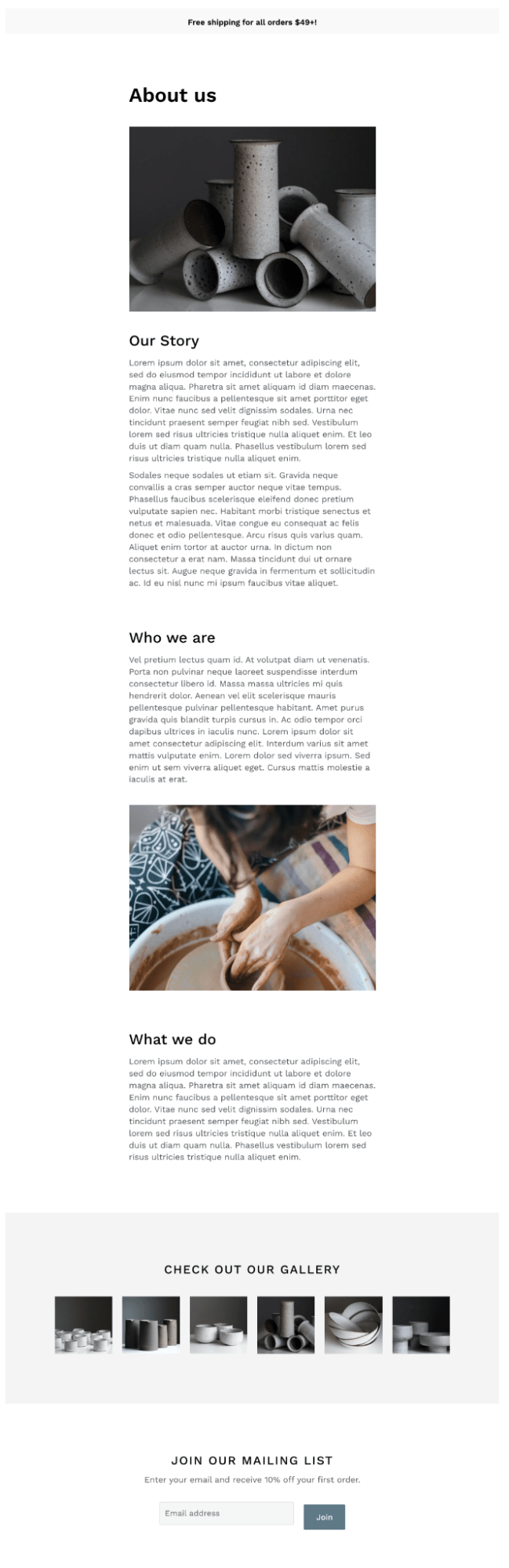 crafty about us page template shogun