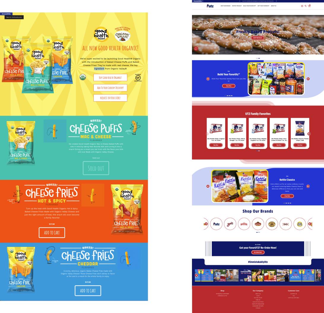 landing page vs homepage from utz snacks
