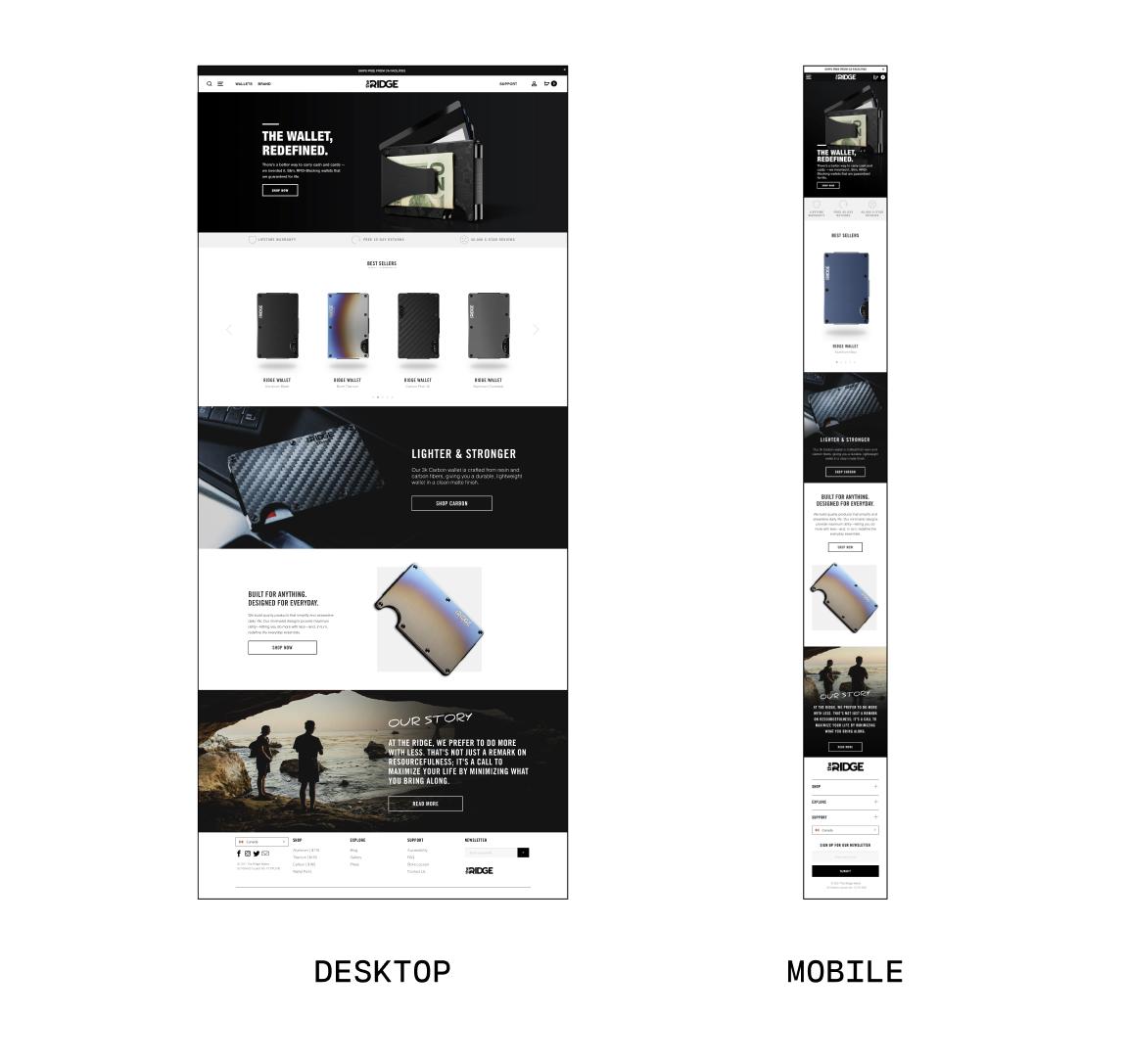 the ridge wallet homepage desktop vs mobile