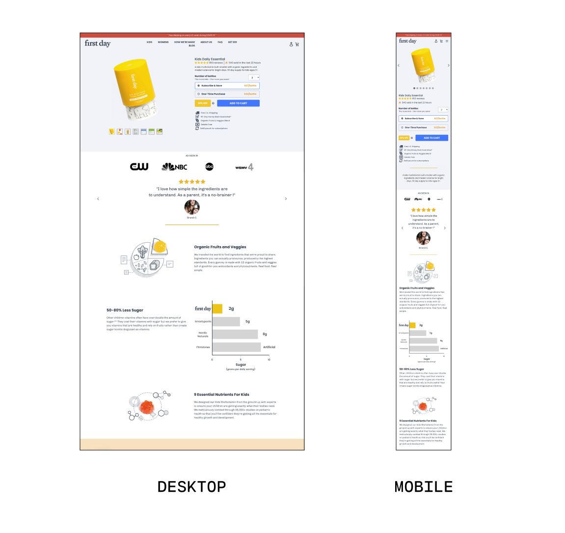 first day landing page desktop vs mobile side by side