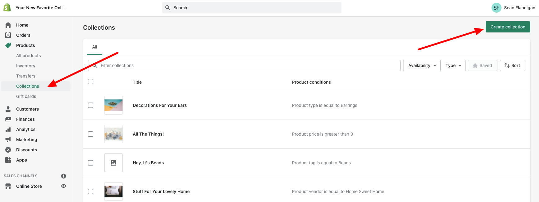 shopify dashboard product collections create collection