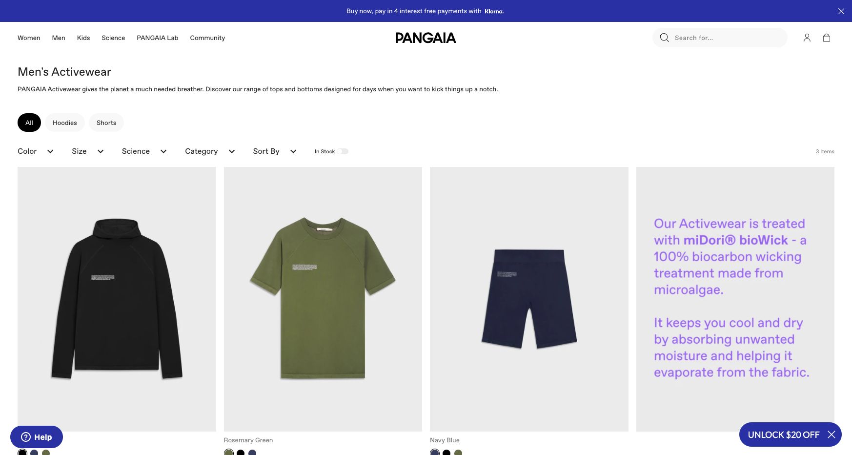 pangaia collection page men's activewear