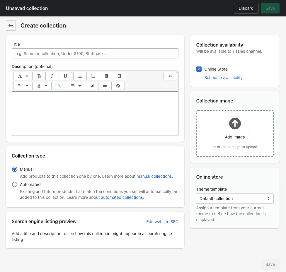 shopify create collection page